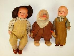 Lot of 3 dolls: composition boy doll (cracks to hed),