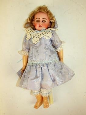"""Bisque head doll with composition body, 15"""" loss of one"""