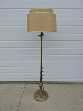 Brass floor lamp with original shade