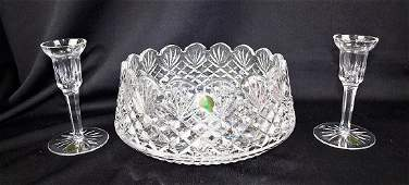 Waterford crystal bowl and candle holders with labels