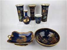 """Carlton ware lot of 7 vases and bowls, 6 marked """"Stoke"""