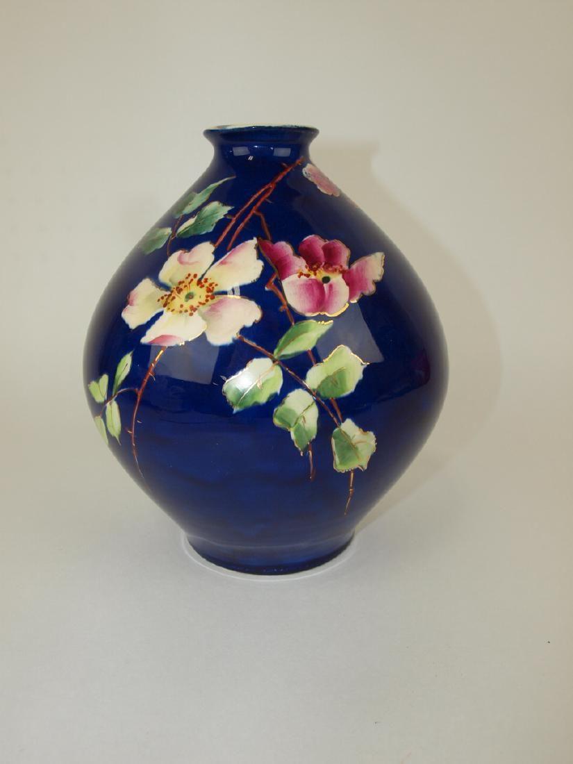 Roseville Mongol art pottery vase, RARE cobalt ground
