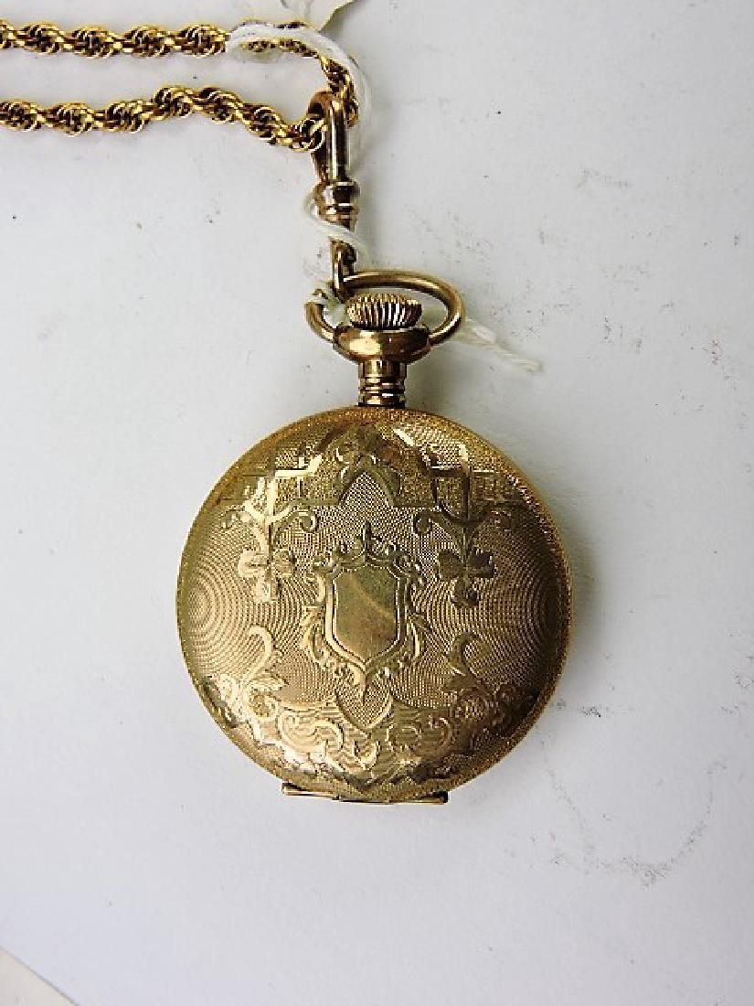 Elgin lady's hunters case pocket watch 15j, with chain,