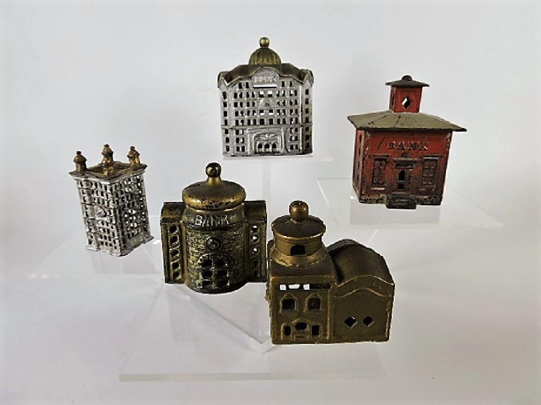 Cast iron lot of 5 building banks