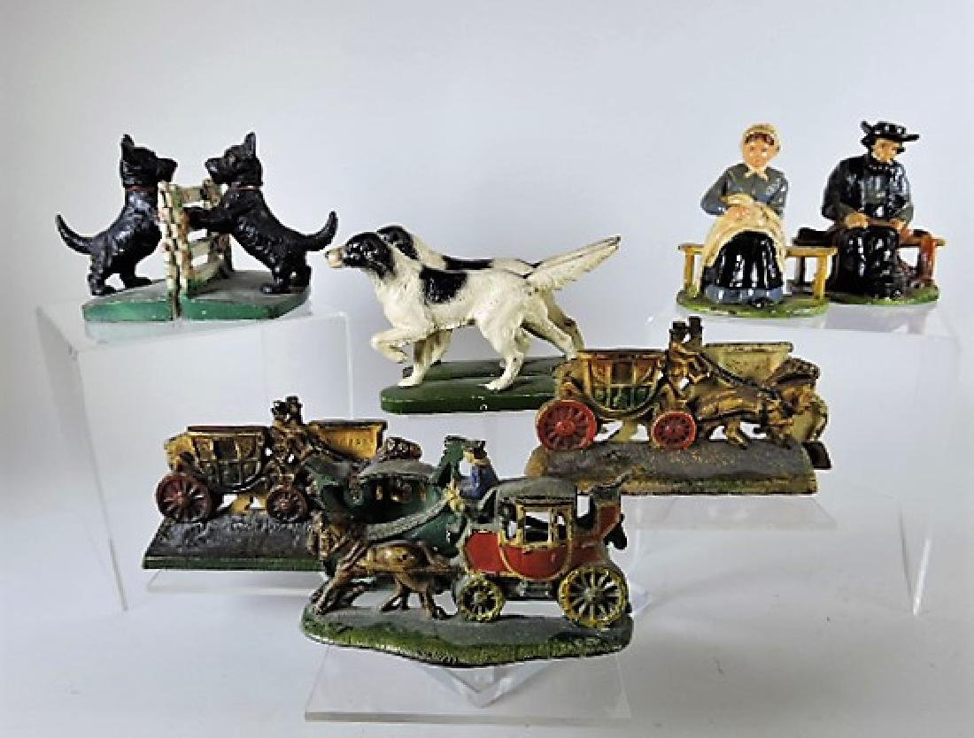 Cast iron lot of 6 pair of bookends - 2 - dogs, Amish