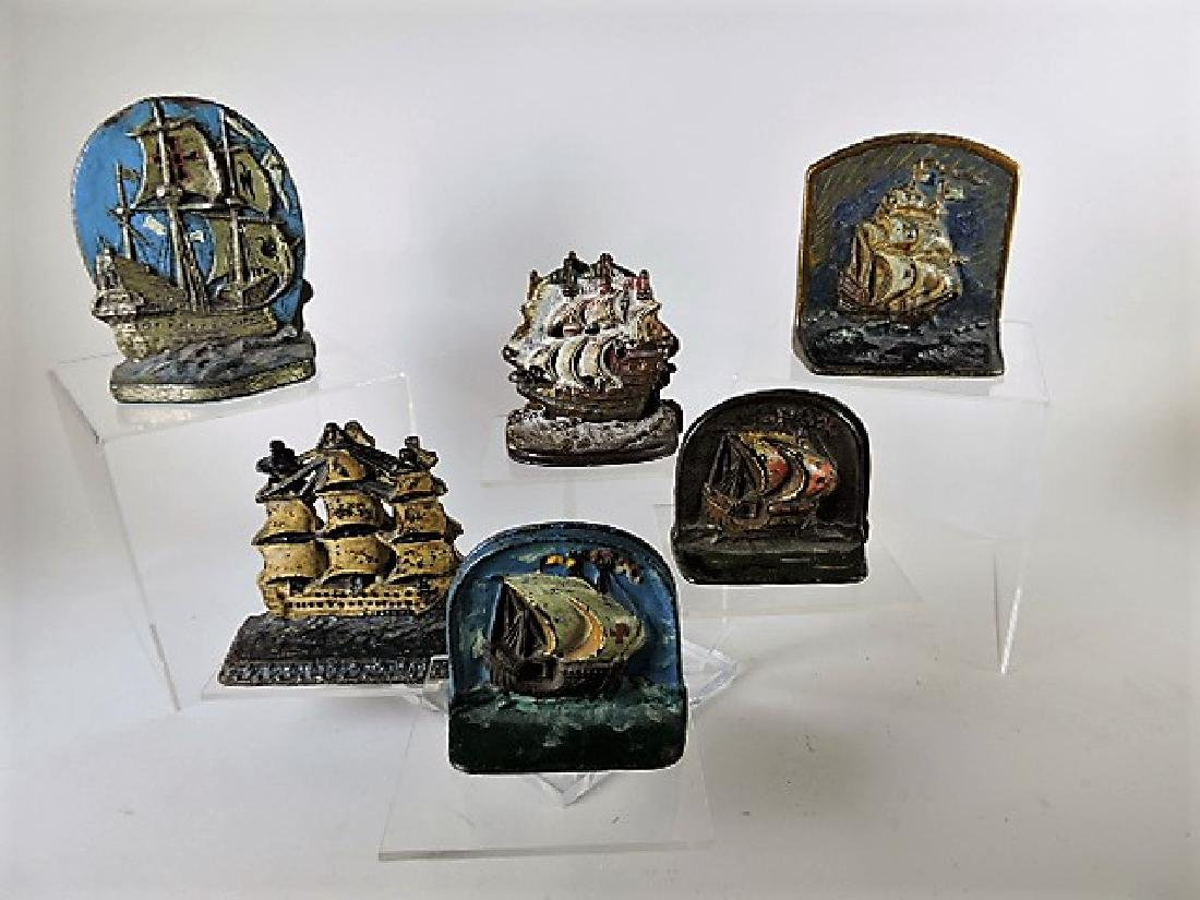Cast iron lot of 6 pair ship bookends