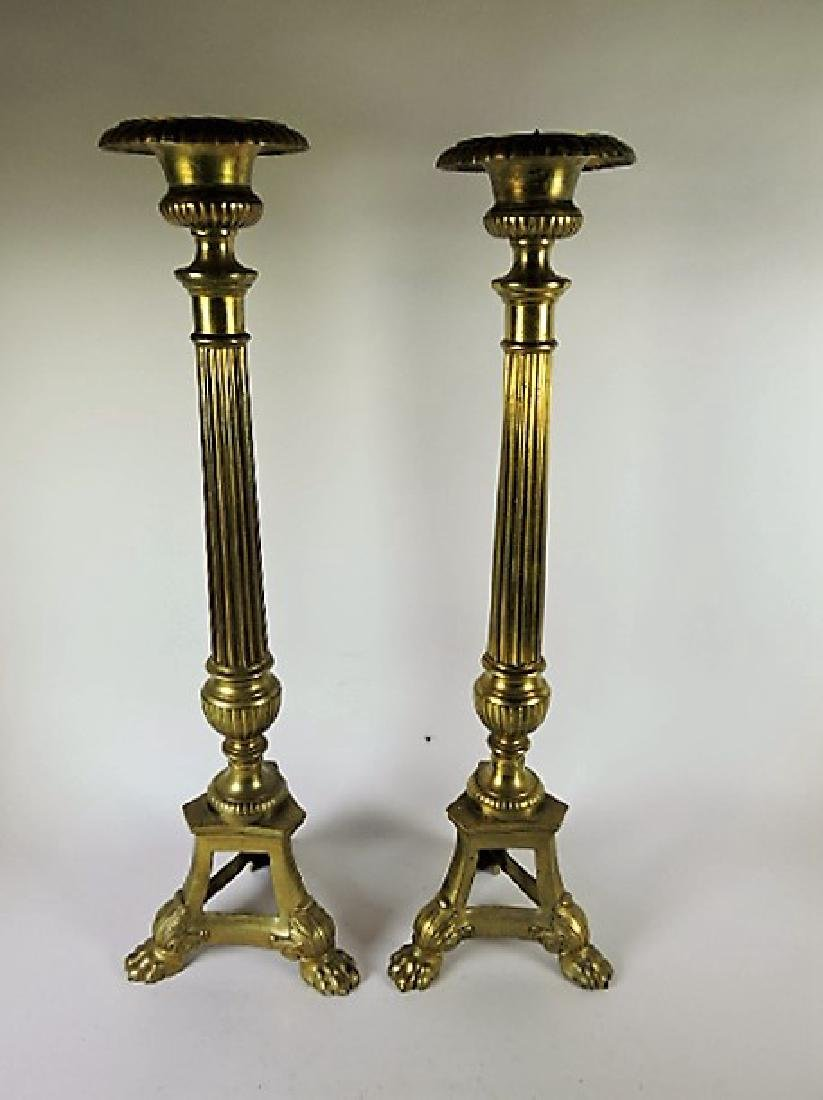 """Pair of tall brass pricket candle sticks, 19th C, 25"""""""