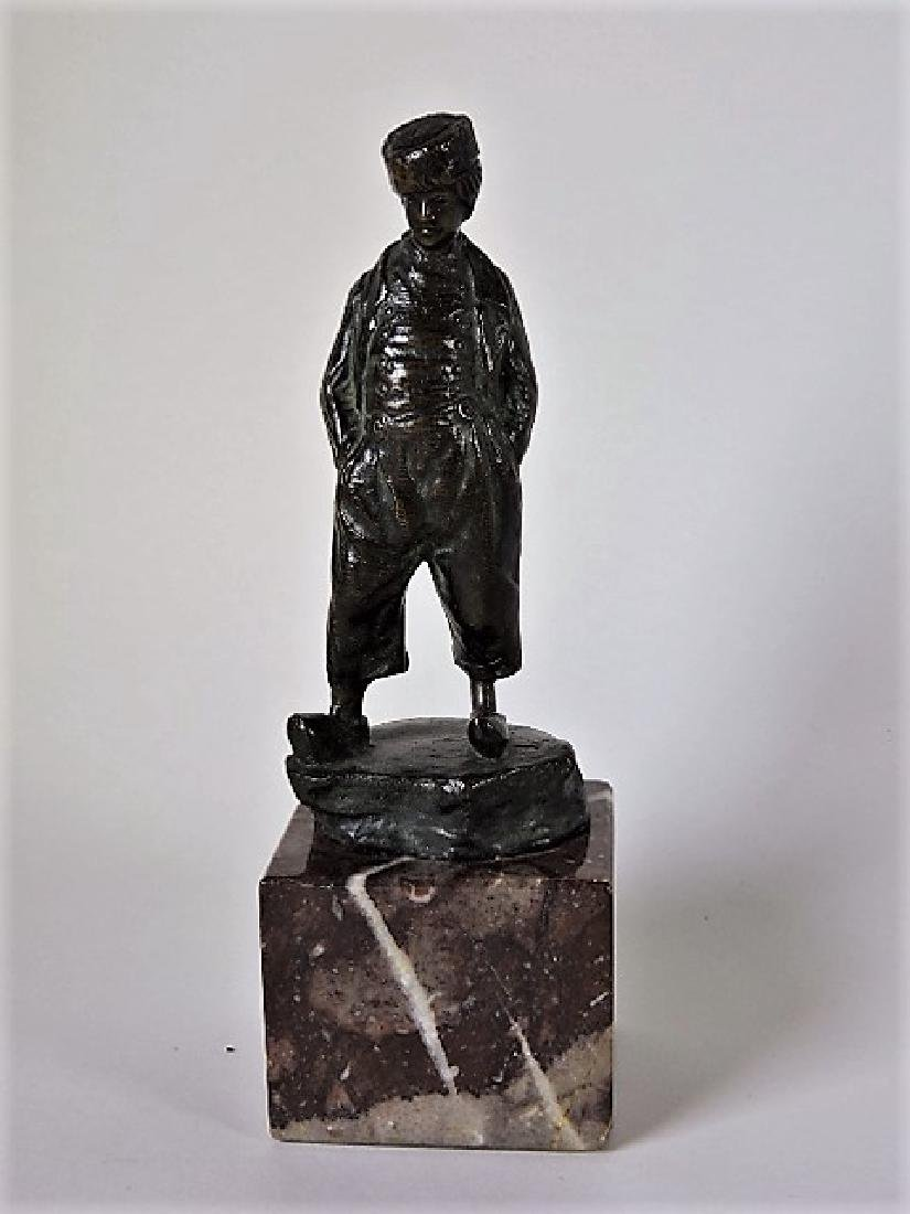 """Bronze figure of a boy on marble base 6 1/2"""", chip to"""