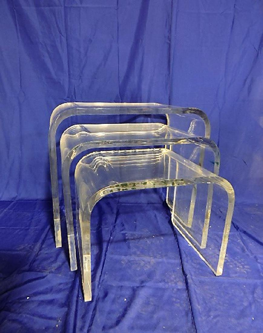 """Mid Century Modern lucite stacking table group 25""""h,"""