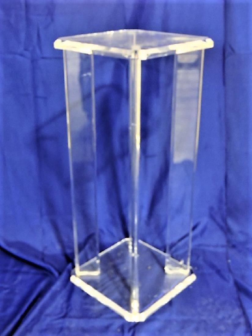 "Mid Century Modern lucite pedestal table, 29""h x 12""w"