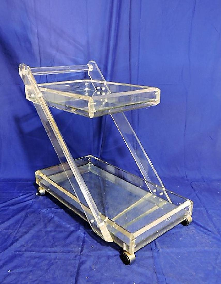 """Mid Century Modern lucite and mirror serving cart 31""""h,"""