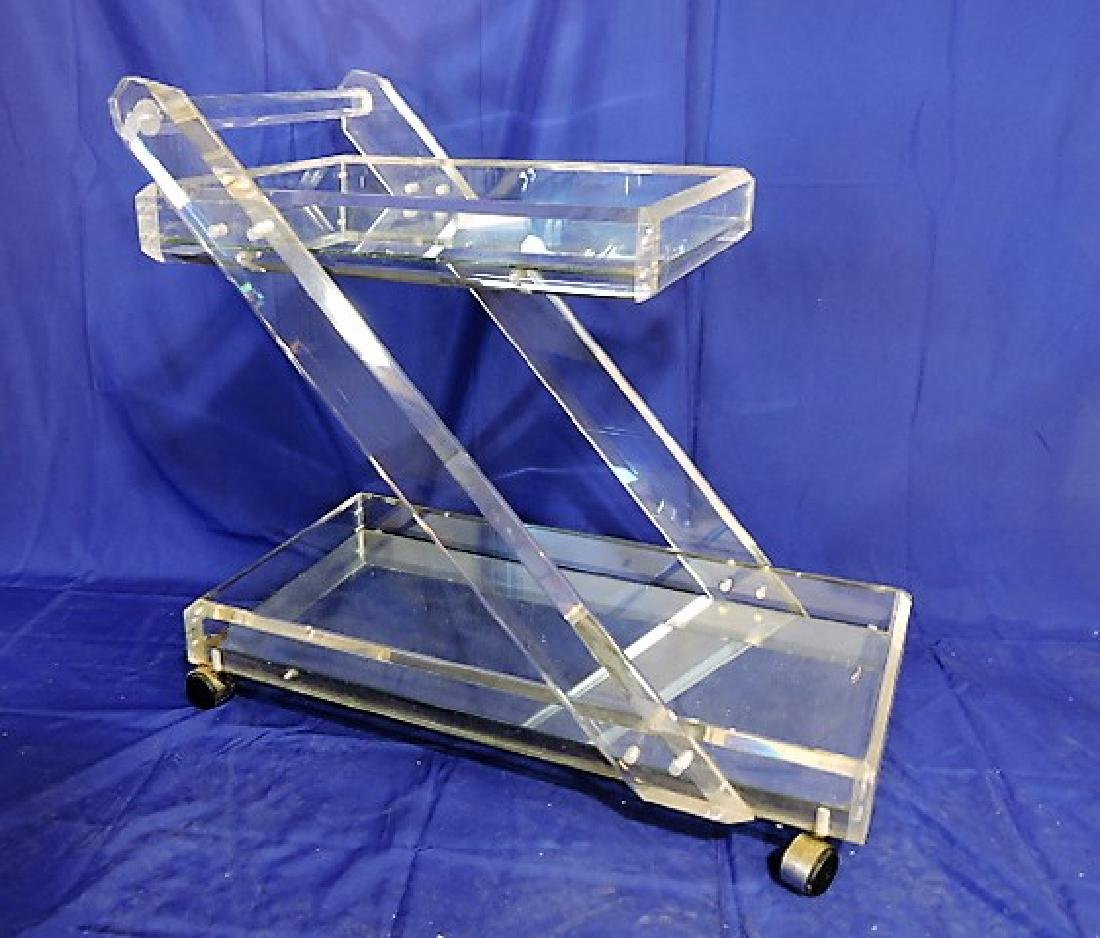"""Mid Century Modern lucite and mirror serving cart 31""""h, - 2"""