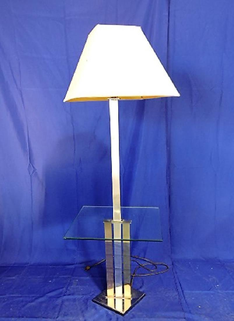 Mid Century Modern chrome and glass floor lamp with