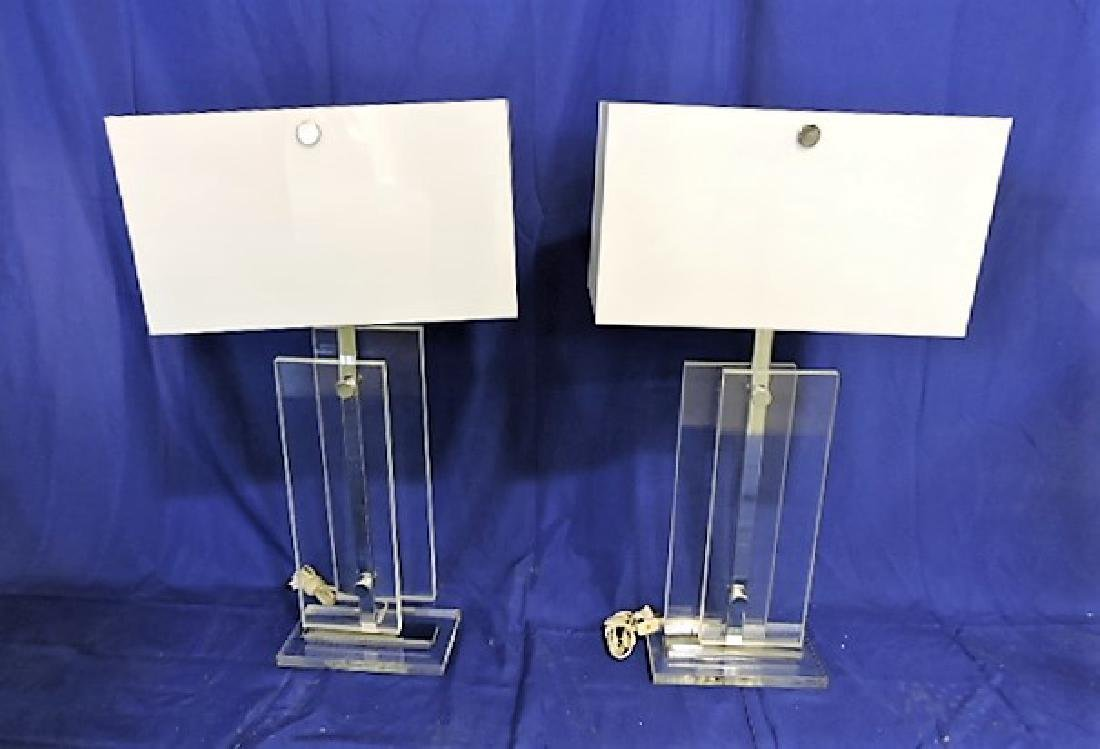 Mid Century Modern lucite pair of table lamps, Galaxy