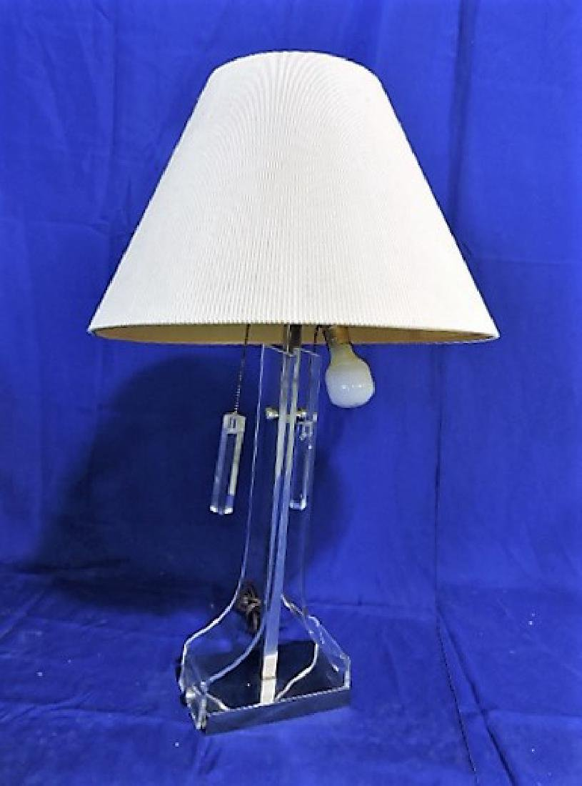 "Mid Century Modern lucite and chrome table lamp 32"","