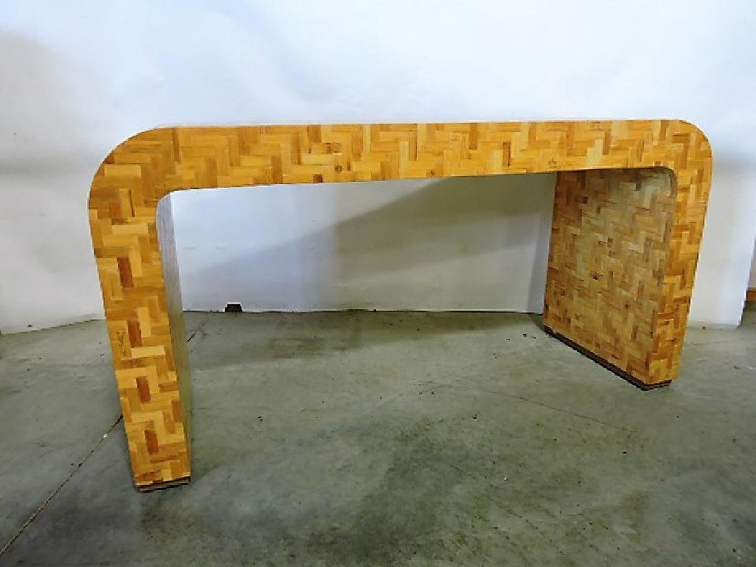 Mid Century Modern curved wooden desk attributed to