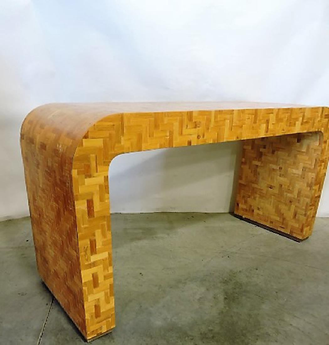 Mid Century Modern curved wooden desk attributed to - 3