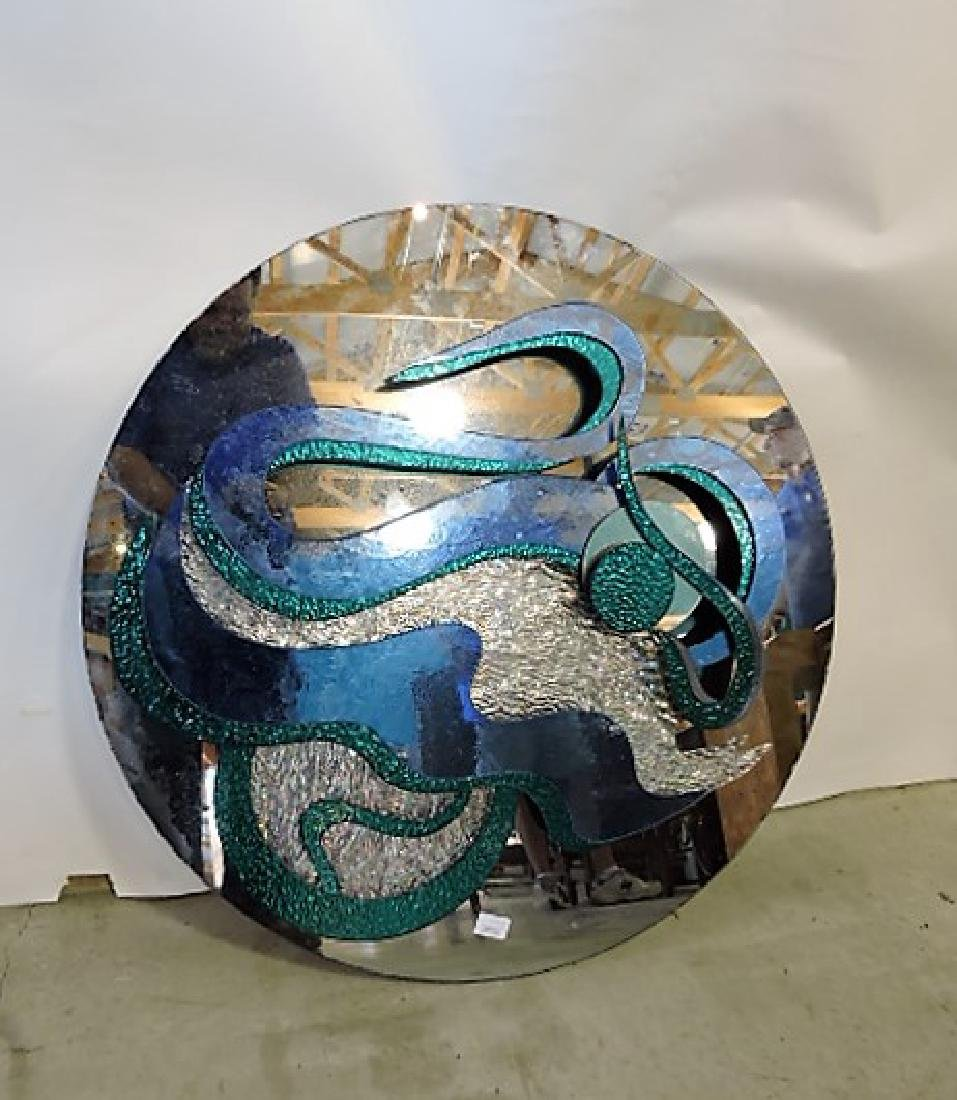 "Mid Century Modern wall mirror sculpture 34""d"