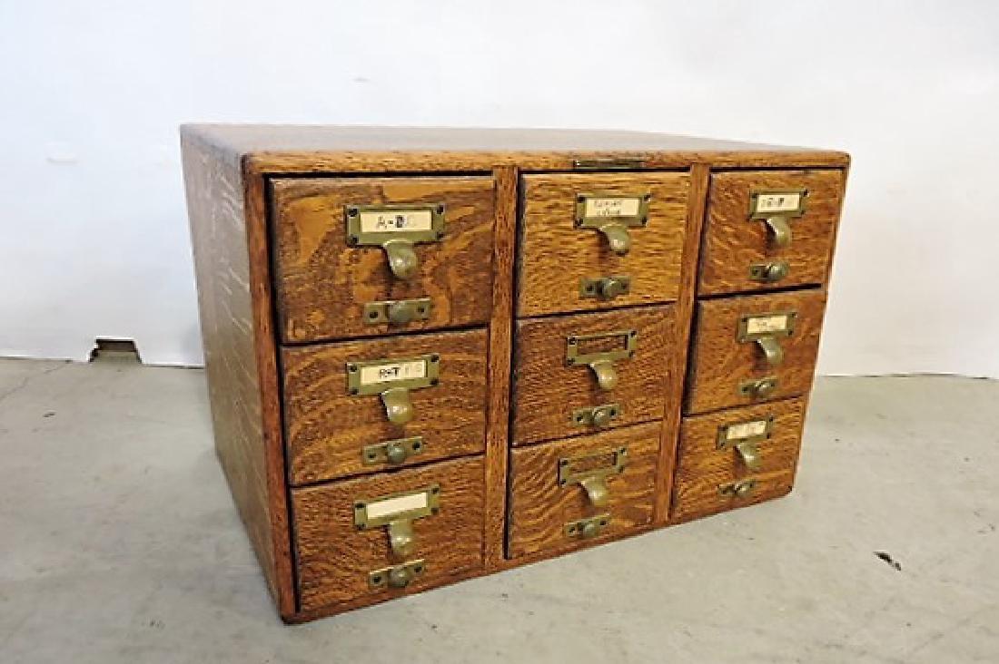 "Oak 9 drawer library file drawer 19 1/2""w, 13""h, 13"