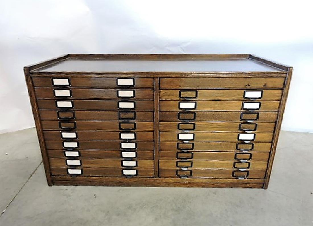 "Oak 20 drawer file cabinet 41""w, 22""h, 17""d"