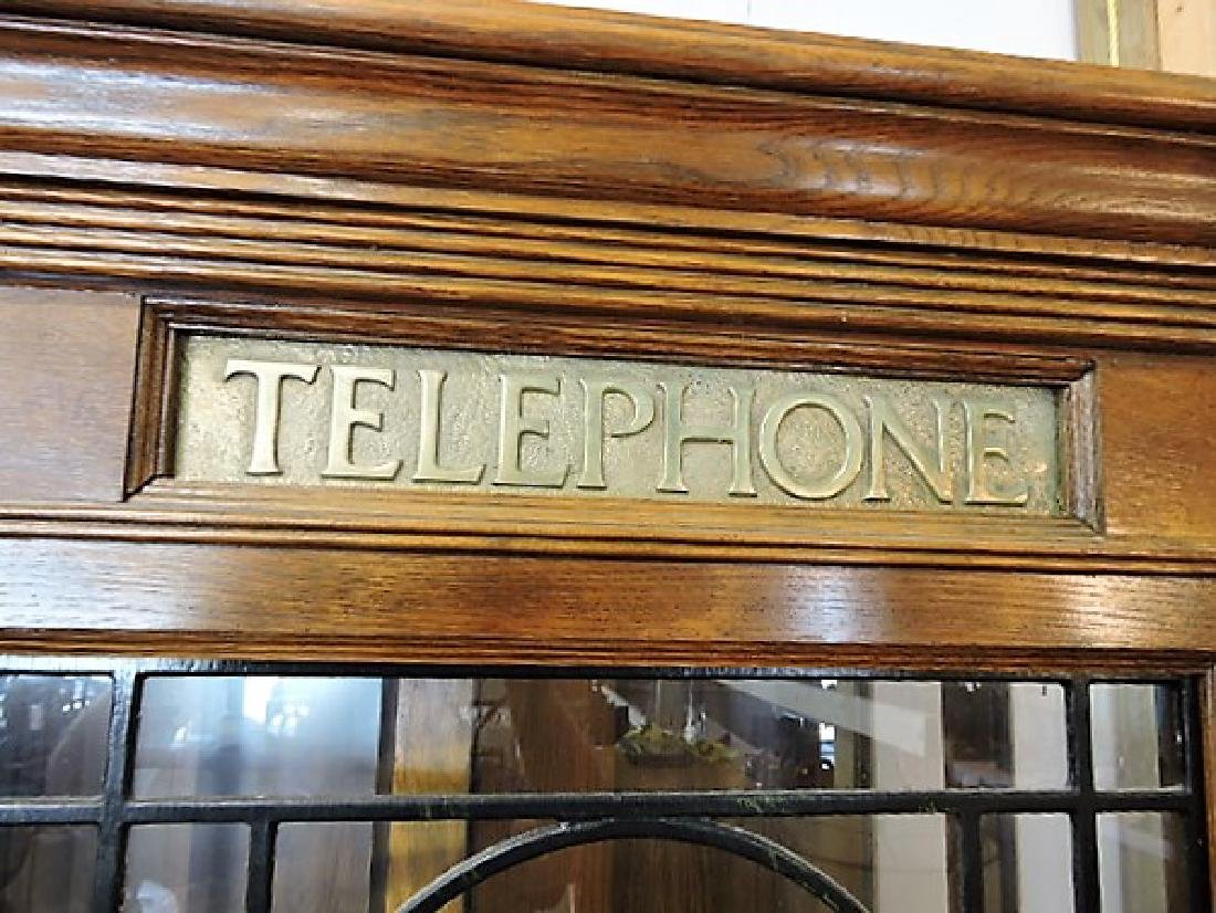 "English oak telephone booth, 80""h, 34""w - 2"