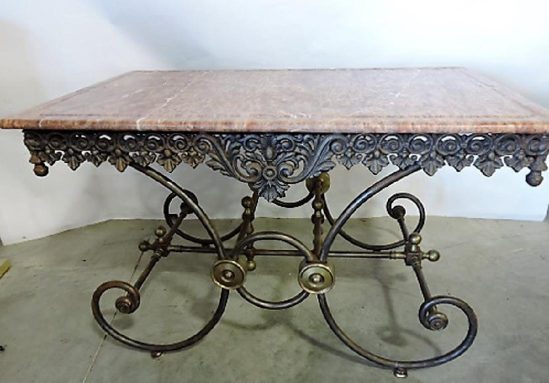 French marble top pastry table with cast iron & brass