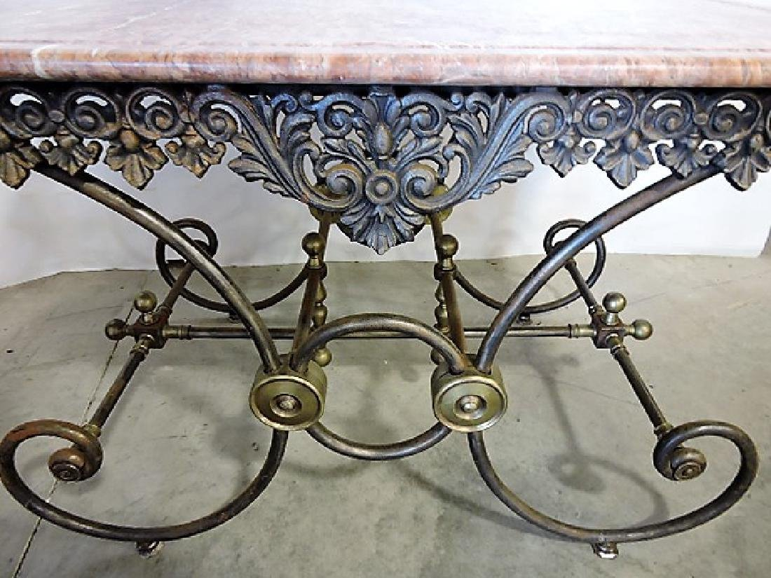 French marble top pastry table with cast iron & brass - 2