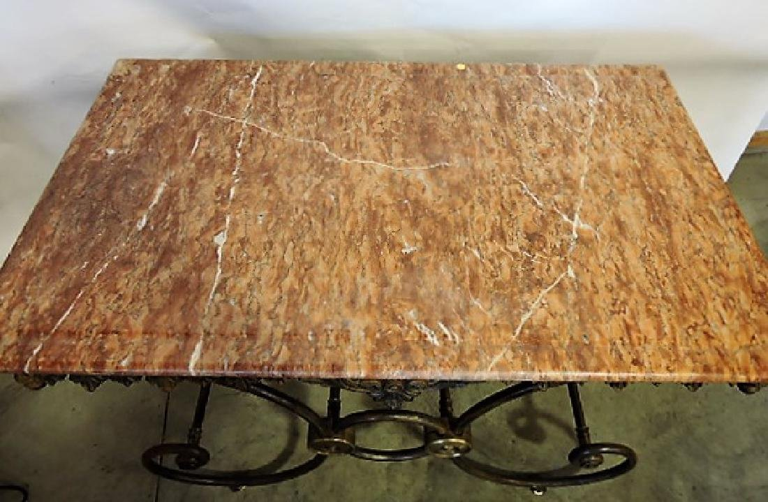 French marble top pastry table with cast iron & brass - 3