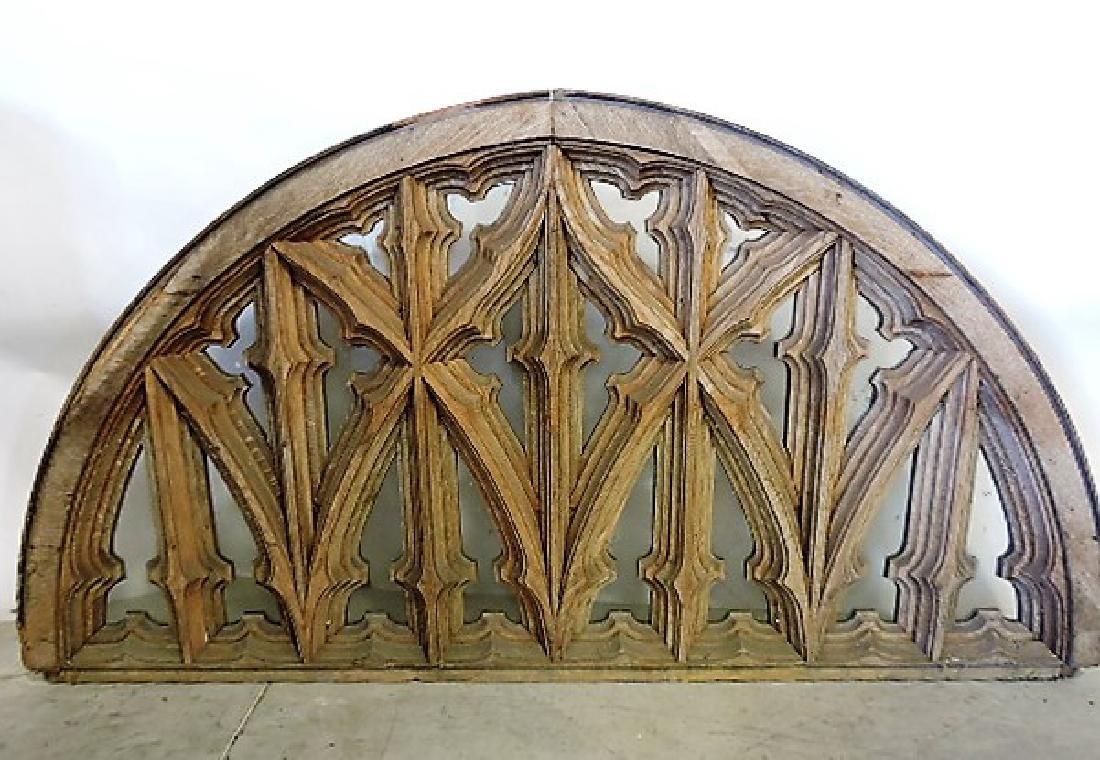 """Oak heavily carved arch window 38 1/2"""" h, 72""""w"""