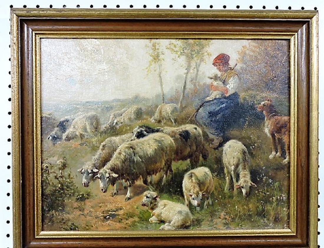 """Oil on board painting of girl with sheep in meadow 18"""""""