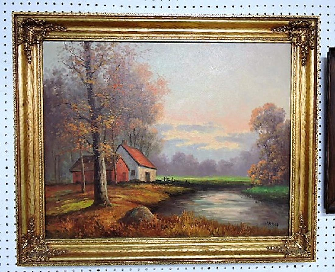 Oil on canvas of fall landscape with cabin on stream,