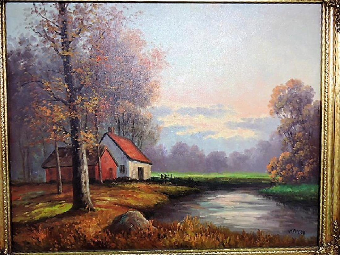 Oil on canvas of fall landscape with cabin on stream, - 2