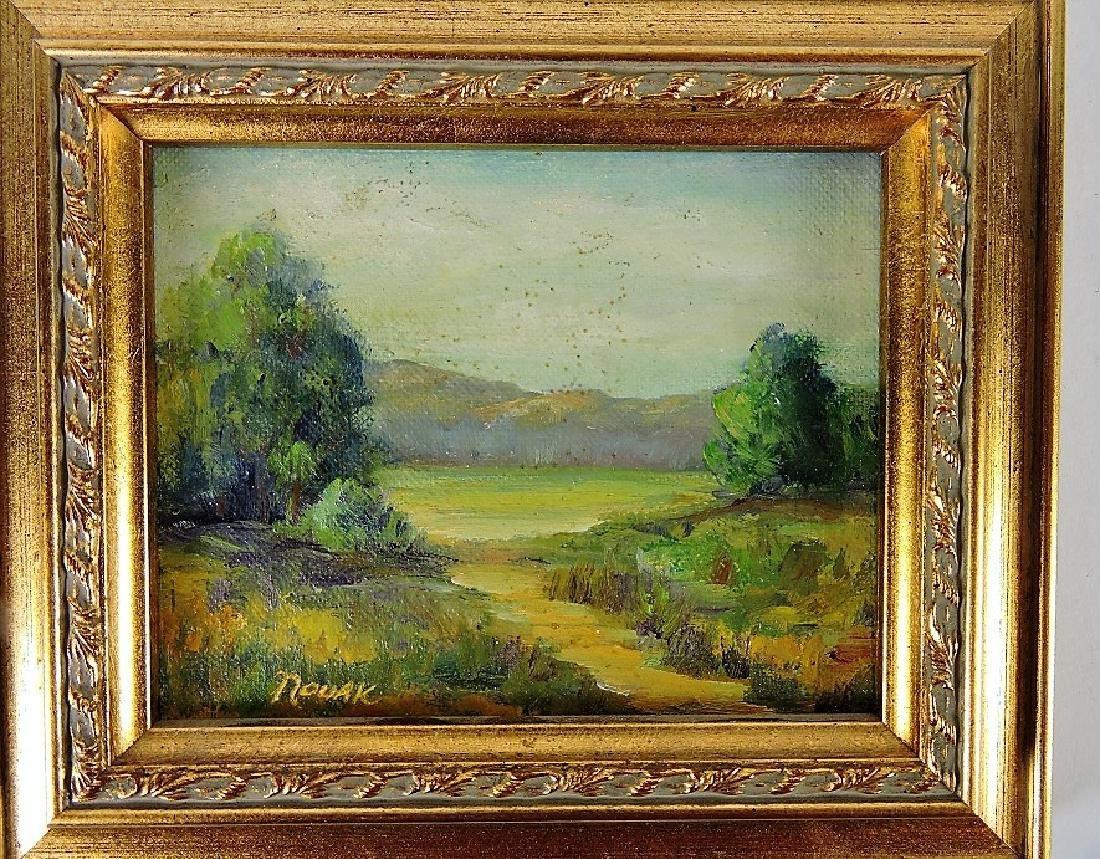 """Novak (1903-1988 Massachusetts) oil on board, 4 3/4"""" x"""
