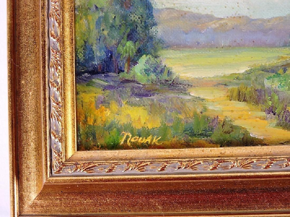 """Novak (1903-1988 Massachusetts) oil on board, 4 3/4"""" x - 2"""