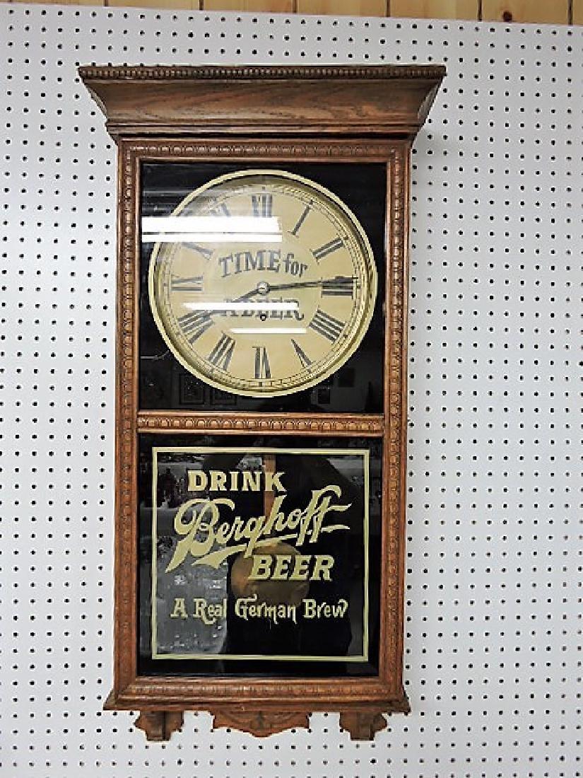 Oak wall regulator clock ,replica advertising, Berghoff