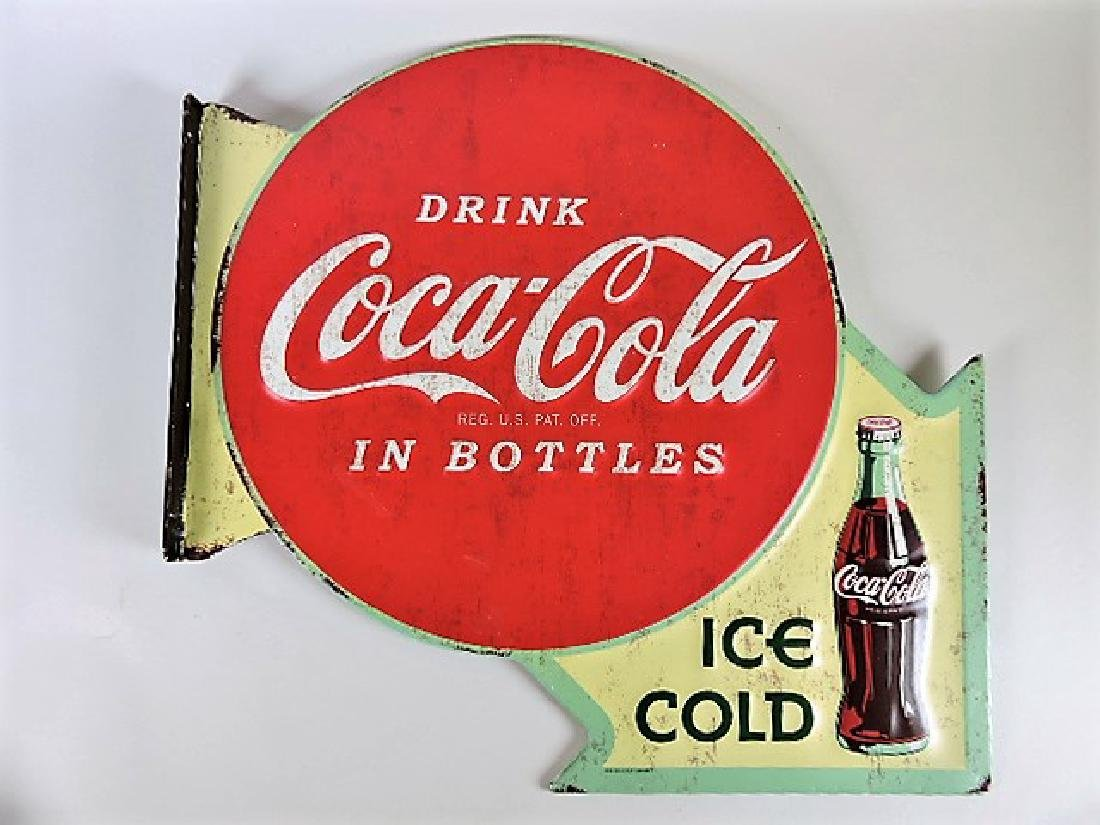"""Coca Cola two sided flange sign 15 1/2"""" h, 16 1/4"""" w"""