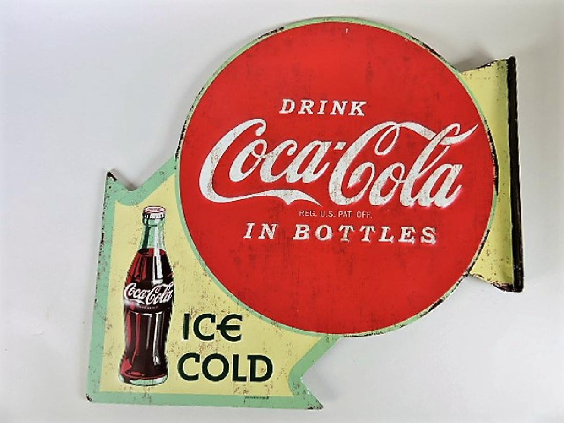 """Coca Cola two sided flange sign 15 1/2"""" h, 16 1/4"""" w - 2"""