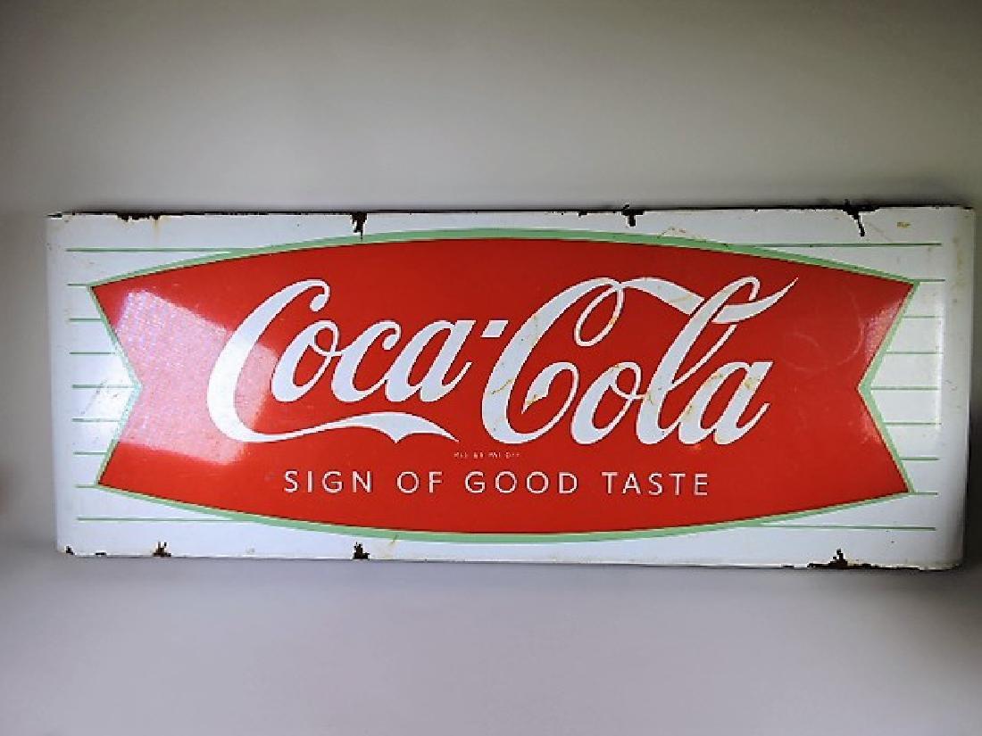 "Coca Cola porcelain sign, some losses, 43 1/2"" x 16"""