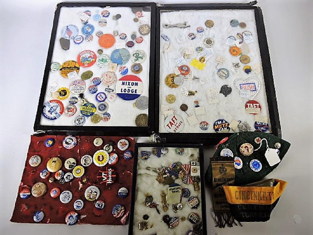 Large lot of political and other pin back buttons and