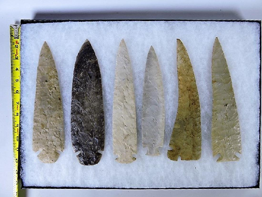 Lot of 6 Indian artifact replica spear points, 9 1/4""