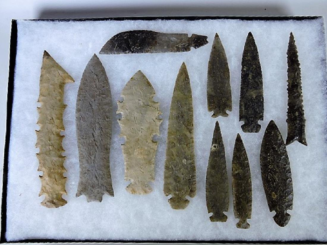 "Lot of 6 Indian artifact replica spear points, 6"" to"