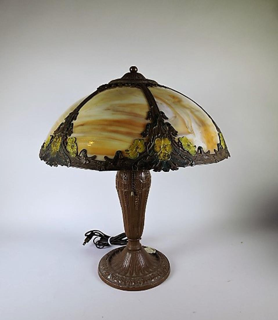 """Panel glass table lamp, 20""""h, 17""""d"""