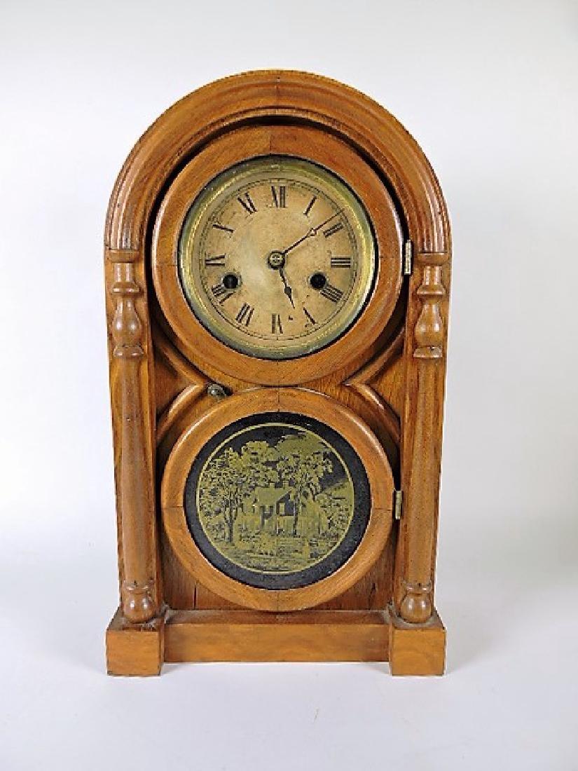 Walnut dome top shelf clock
