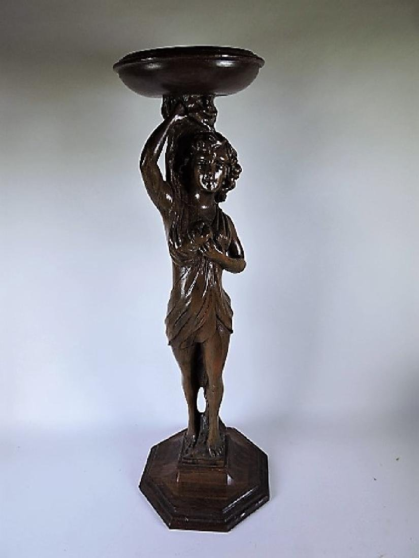 Walnut carved lady pedestal, 27 1/2""