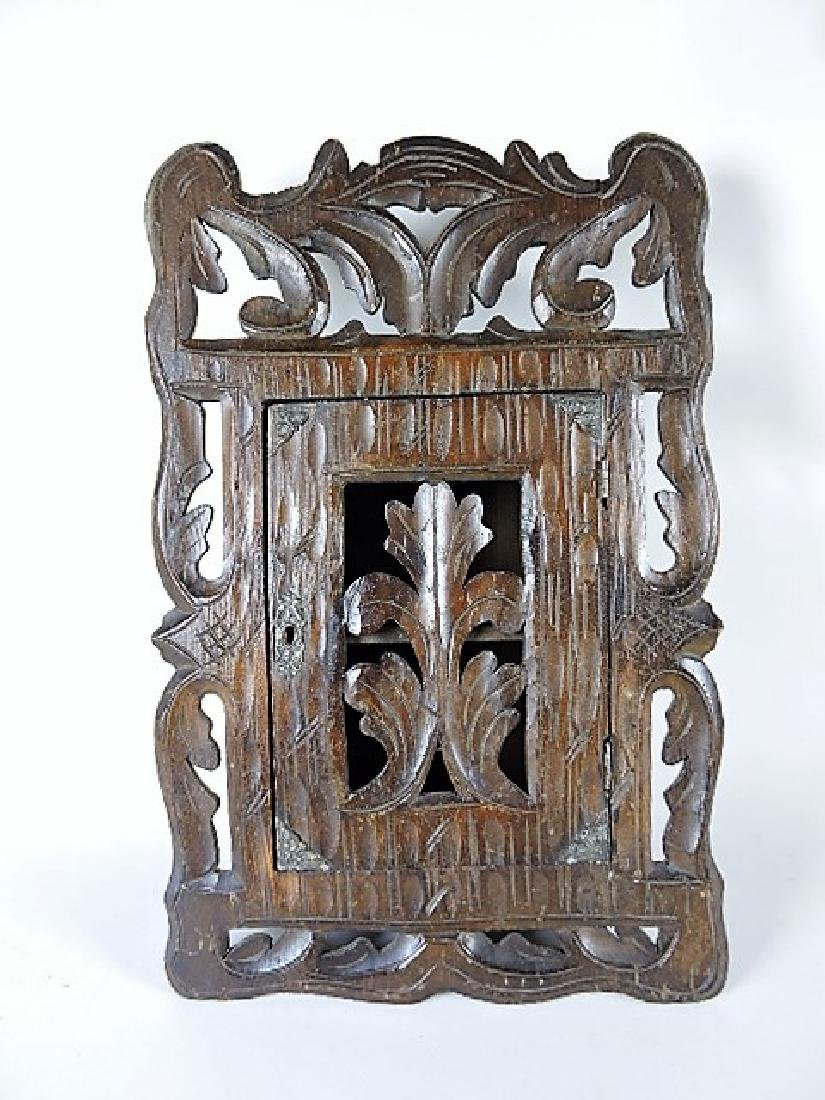 """Black Forest wood warved wall cabinet with door, 11""""w x"""