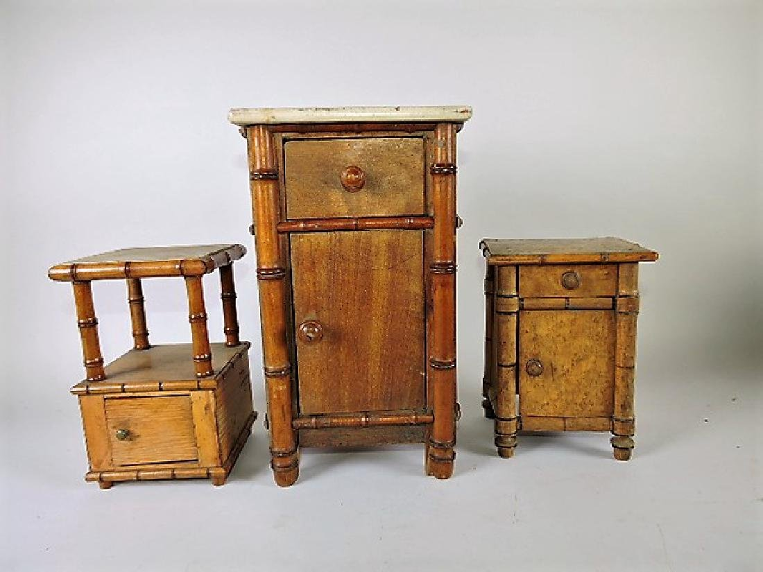 French Faux bamboo lot of 3 miniature night stands
