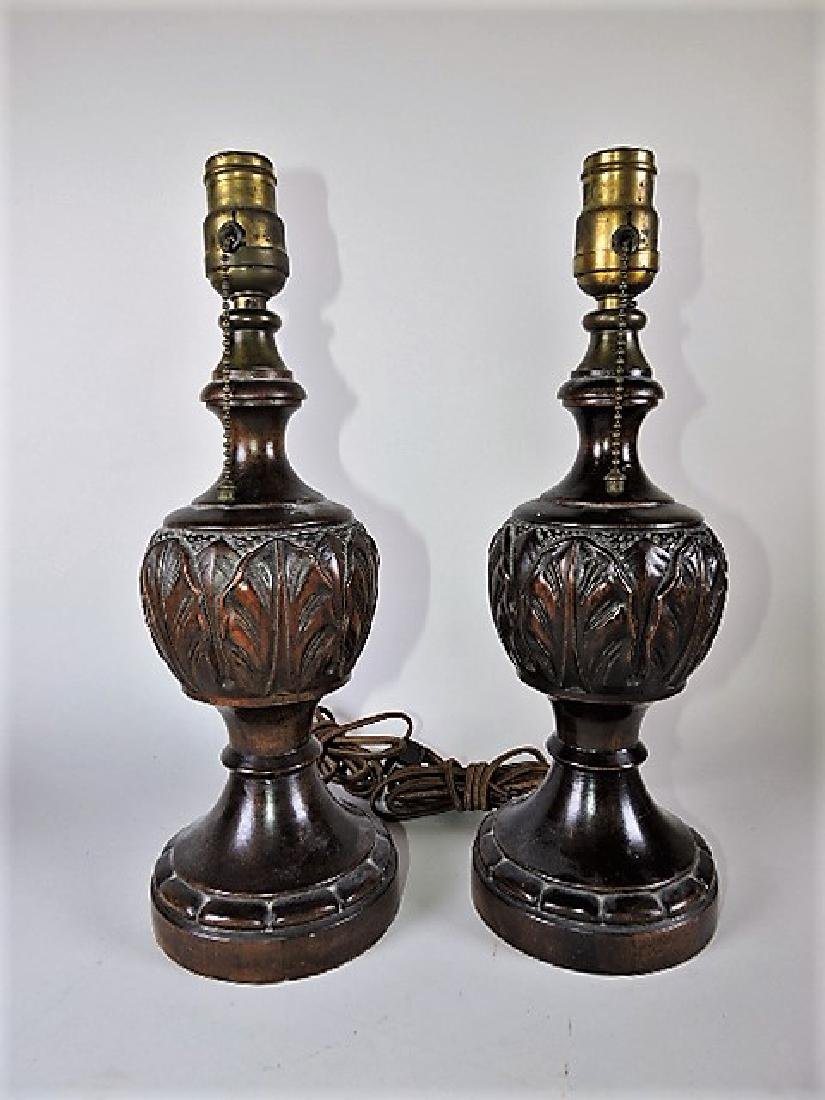 """Pair of wood carved dresser lamps 14 1/2"""""""