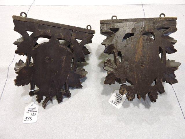 Black Forest carved wooden pair of bracket shelves of - 2