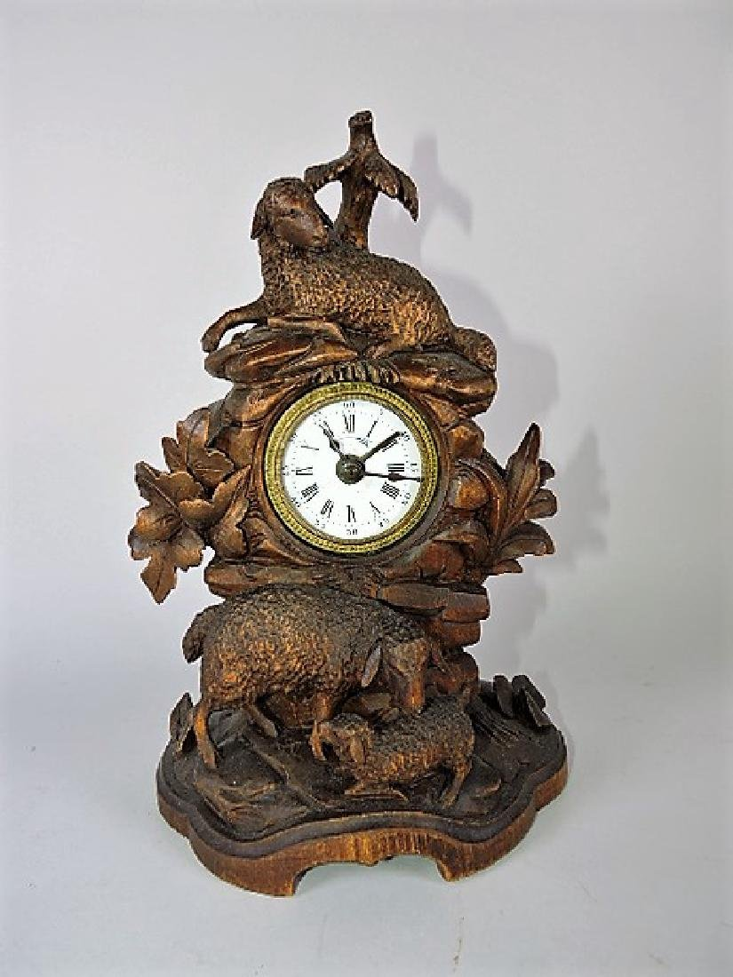 """Black Forest carved wooden clock with sheep, 10 1/2"""":"""