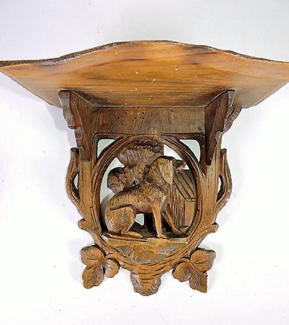 """Black Forest carved wooden bracket shelf with dog, 8"""""""